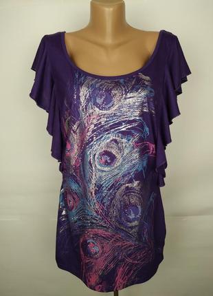 Блуза трикотажная фиолетовая в принт с полу открытой спинкой u...