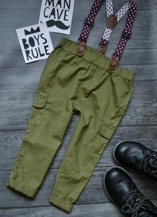 Крутые штаны хаки с подтяжками 12-18месяцев