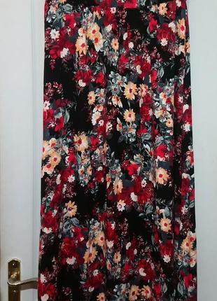 Юбка в пол. юбка в цветы. на резинке