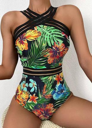 Слитный купальник в цветы вставки сетка мол
