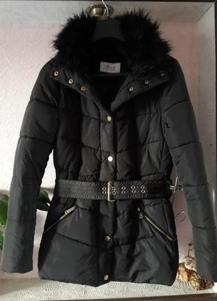 Женская черная куртка демисезон осень весна зима синтепон с ме...