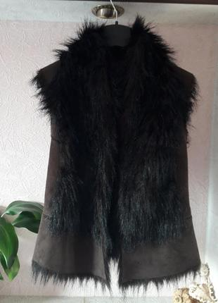 Женская теплая меховая жилетка zara демисезон осень весна