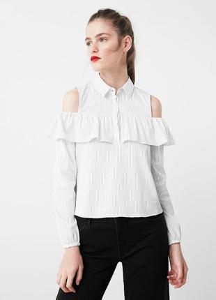 Блуза-рубашка в полоску с открытыми плечами mango