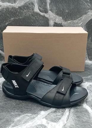 Мужские сандали nike sandals черные, кожаные, босоножки