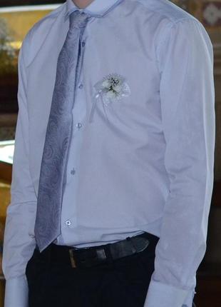 Праздничная мужская рубашка в мелкую полосочку l&viktor(святко...