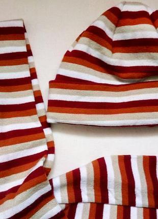 Комплект шапка + шарф в полоску   смугаста шапочка і шарфик