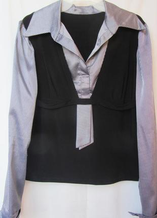 Стильная деловая блузка в двухцветную полоску (серебро) р.48