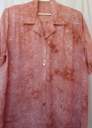 Шифоновая, летняя легкая блуза с вишивкой  р.52-54