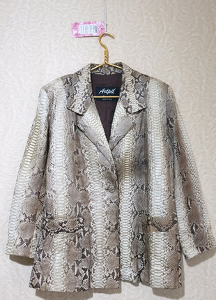 Куртка пиджак френч кожа кожаный питон
