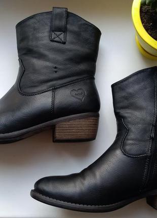 Черные ботильоны, ковбойские сапоги ботинки женские р.39 fabs ...