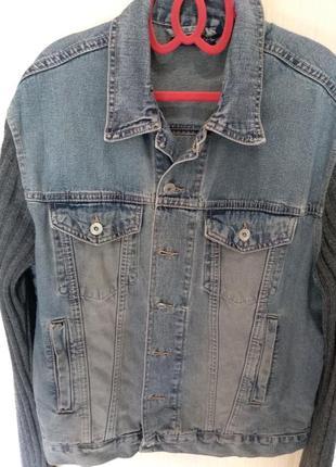 Джинсовая куртка с трикотажными рукавами charles_р.50 мужская