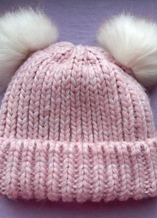 Шапка шапочка теплая на флисовой подкладке для девочки с ушкам...