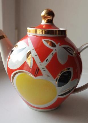 Большой доливочный фарфоровый чайник 2л. полонский фарфоровый ...