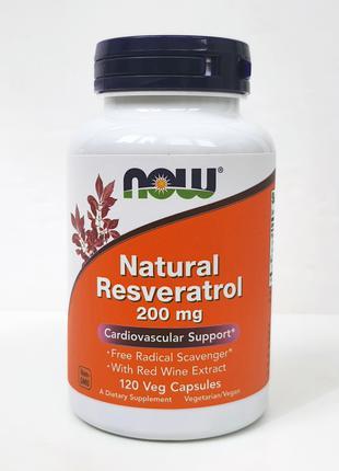 Натуральный ресвератрол Now Foods, 200 мг, 120 капсул