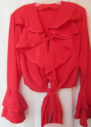 Праздничная блузка с расклешенными рукавами и v-образным вырез...