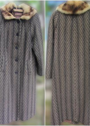 Зимнее твидовое драповое пальто с воротником фретка (р.50-52)