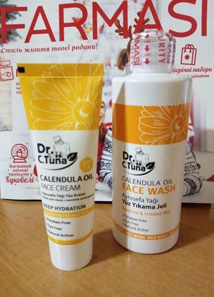 Очищающий гель и крем для лица с маслом календулы farmasi cale...