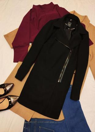 Primark пальто прямое чёрное бойфренд со вставками кожи на молнии