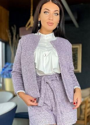 Женский костюм из шерсти букле до 56 размера
