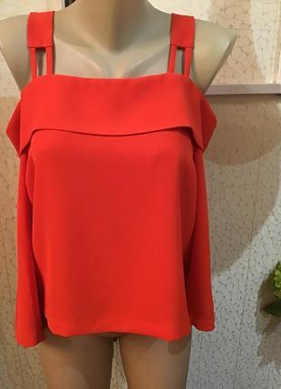 К новому году! яркая красная блуза с открытыми плечами top shop