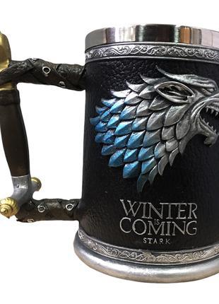 Кружка Чашка Бокал Игра Престолов Winter is Coming Stark Targa...