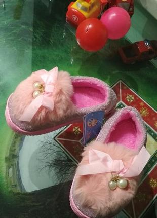 Тапочки розовые с мехом для девочки очень теплые