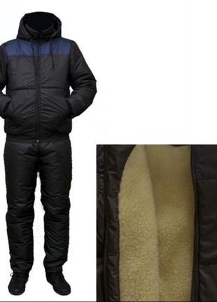 Зимний  мужской лыжный спортивный костюм на овчине темно синий...