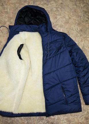 Зимняя мужская куртка на овчине и синтепоне синяя удлиненная