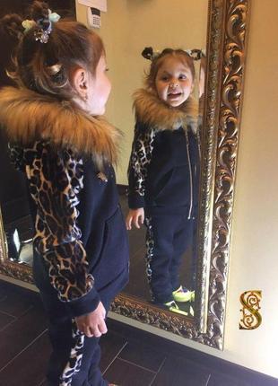 Теплый костюм для девочки деми зима черный  детский с мехом на...
