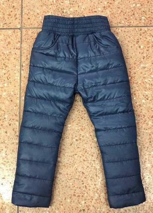 Теплые зимние для девочки штаны на резинке плащевка синяя на с...