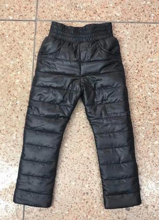 Теплые зимние для девочки штаны на резинке плащевка черные на ...