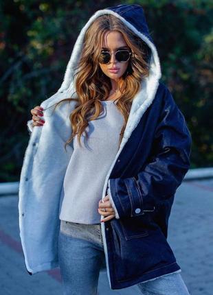 Женская джинсовая парка куртка на меху свободного кроя с капюш...