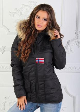 Зимняя женская куртка на меху с капюшоном черная ниже пояса ов...