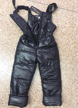 Теплые зимние детские полукомбинезон штаны на подтяжках на син...