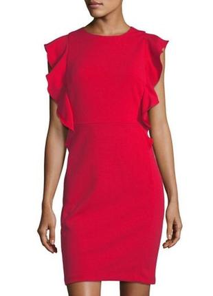Яркое,красное,неопреновое платье,сарафан,открытая спина,рюши,в...