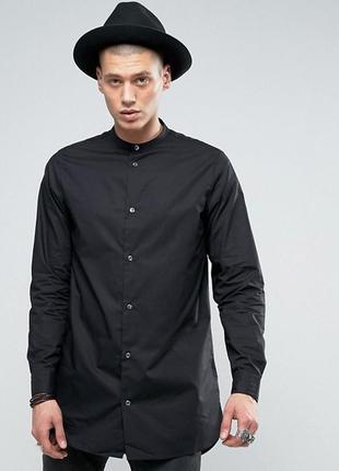 Длинная черная мужская унисекс рубашка туника на кнопках длинн...