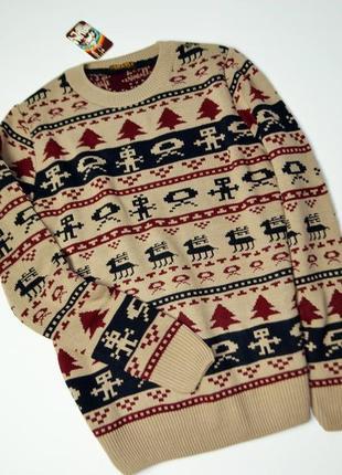 Мужской в зимний принт теплый свитер