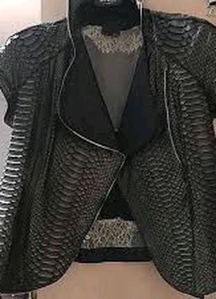 Куртка болеро пиджак жакет кожа кожаный питон fendi