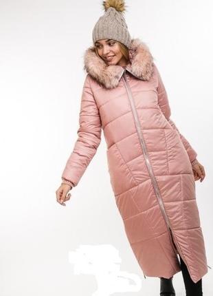 Длинная теплая стеганная куртка довге тепле пальто на синтепоне
