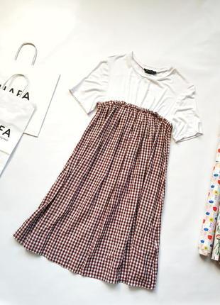 Платье комбинация футболка юбка в клетку красная new look