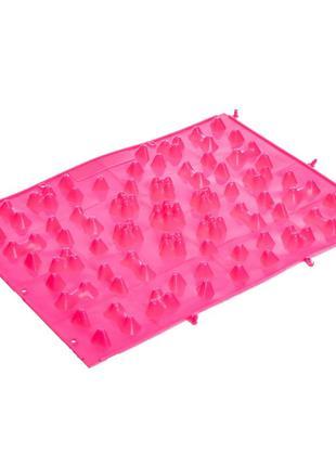 Коврик-пазл ортопедический массажный резиновый (38сx27см) Розовый
