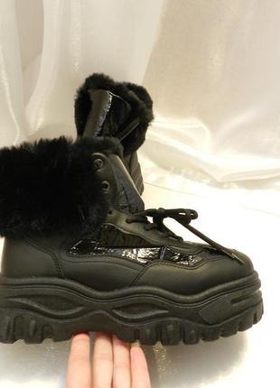✅ массивные ботинки с опушкой на платформе сезон весна осень з...