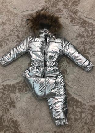 Зимний комбинезон для девочки плащевка серебро на меху детский