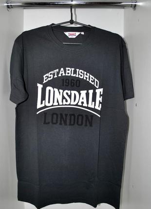 Футболка мужская новая! lonsdale l темно серая брендовая
