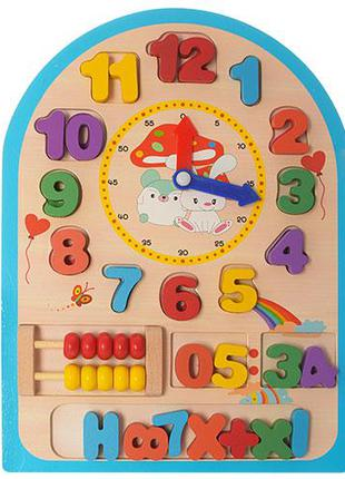 Развивающая игрушка Часы MD 1050 деревянная, развивающая игра,...