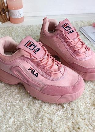 Кроссовки женские розовые фила