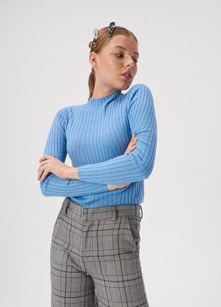 Новая облегающая темно-голубая кофта синий свитер гольф рубчик...