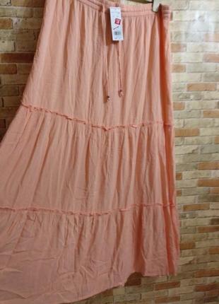 Новая вискозная макси юбка с оборками штапель 54-56 размера