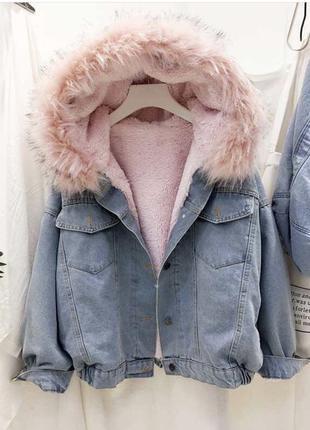 Джинсовая куртка с мехом , джинсовка с мехом