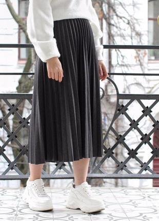 4 цвета! юбка плиссе серая